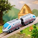 Holzeisenbahn Zug Elektrische Hohe Geschwindigkeit Spielzeug Zug Kinder Lokomotive Kompatibel mit Holzschienen Kinder Spielzeuglok...