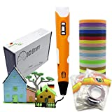 KreativKids 3D Stift + 40 x 5m PLA Filament 200 m. 3D Stifte. 3D Druck Stift mit LCD Bildschirm, für Kinder und Erwachsene. PLA...