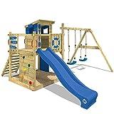 WICKEY Spielturm Klettergerüst Smart Camp mit Schaukel & blauer Rutsche, Baumhaus mit Sandkasten, Kletterleiter & Spiel-Zubehör