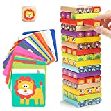Nene Toys - Pädagogisches Kinderspiel ab 3 Jahre - Wackelturm 4 in 1 aus Holz mit Farben und Tieren - Spielzeug für Mädchen...
