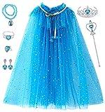 Tacobear Prinzessin Umhang Kinder Mädchen Verkleidung Prinzessin ELSA Cape mit Schmuck Prinzessin Krone Zauberstab Armband Ring...