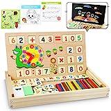lenbest Montessori Mathe Spielzeug, Magnetisch Holz Lernbox, Zahlenlernspiel mit Spielkarten&Tafel, Spielzeug Doodle aus Holz...