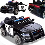 BPD Elektrisches Kinderauto Elektroauto US-Polizeiauto mit 12V Akku weiche Eva-Reifen Ledersitz