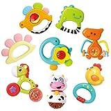 REMOKING Rassel Beißring Babyspielzeug, Silikon Babyrassel Beißring Set ohne BPA, Früherziehung Spielzeug für 0,3,6,9,12...