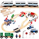 Kinderplay Holzeisenbahn Set - Elektrische Eisenbahn für Kinder, Elektrisch Spielzeug Zug, Polizeistation, Autobahn Kinder und...