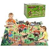 BeebeeRun 24pcs Tiere Spielzeug mit spielmatte & bäume & felsen,Spielzeug ab 3 Jahre Kinder,Pädagogisches Lernen Tiere Modell...