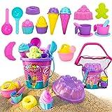 NextX Sandspielzeug 24 Teile Sandförmchen EIS Cupcake mit Netzbeutel Sandkasten für Kinder Outdoor