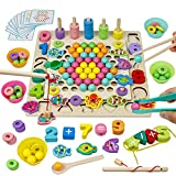 Akokie Holz Montessori Spielzeug 4 In 1 Perlen Spiel Angelspiel Besaitungsspiele Mathe-Lernspiele Interaktives Spielzeug Puzzles...