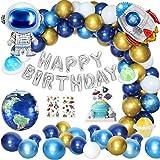 Geburtstagsdeko Junge, Kindergeburtstag Deko Luftballons Weltraum Geburtstag Party Dekoration Kinder Astronauten Raketen Happy...