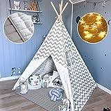 Tiny Land Tipi Spielzelt für Kinder Kinderzimmer mit Gepolsterter Decke & Lichterkette- Drinnen Baumwolle Segeltuch Kinderzelt...