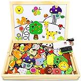 Jojoin Magnetisches Holzpuzzle mit Doppelseitiger Tafel, Holzspielzeug Puzzles Kinder, 110 Stück Tiermuster Pädagogisches...