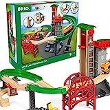 BRIO World 33887 Großes Lagerhaus-Set mit Aufzug – Zubehör für die BRIO Holzeisenbahn –...