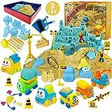 Magic Sand Kit - Spielsand Baukasten 3lbs Sand mit 2 Farben, 6 Mini Baufahrzeuge, Bauspielzeug und Schilder, Tierform,...