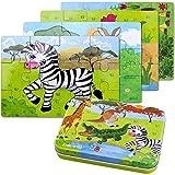 Kinderpuzzle, 64PCS Puzzle für Kinder, Vier schwierigkeitsgrade Lernspielzeug Spiel für Kinder 3 4 5 Jahren Alt, Metallkoffer...