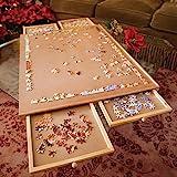 Bits and Pieces – Puzzleplateau aus Holz, Jumbo Größe - Ebene Arbeitsfläche mit Vier Schubladen - Puzzle-Speichersystem -...