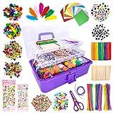 LINAYE 1600+Pcs DIY Bastelbedarf für Kinder Bastelset in Faltbare Aufbewahrungsbox Gehören Bastelpapier Federn Pfeifenreiniger...