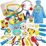 Buyger 26 Stück Rollenspiel Spielzeug Tierarztkoffer mit Hund Kinder Arztkoffer Tierarzt Spielset für Mädchen Junge ab 3 Jahre