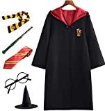 PRXD Harry Potter Cosplay Kostüm Set, Umhang Zauberstab Krawatte Schal Brille Hermine Granger Kostüm Schwarze Robe Schuluniform...