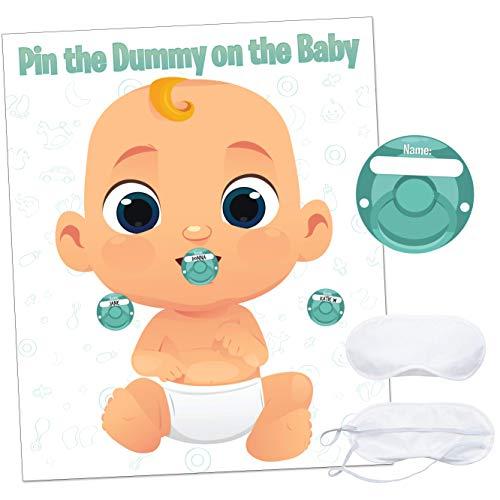 Lustiges Babyparty-Spiel – Pin The Dummy – inklusive 20 Aufkleber, großes Poster und Luxus-Augenbinde