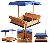 Home Deluxe - Sandkasten Buddelkiste - Mit verstellbarem Dach und Bodenplane - Maße: 110 x 110 x 110 cm - inkl. komplettem...