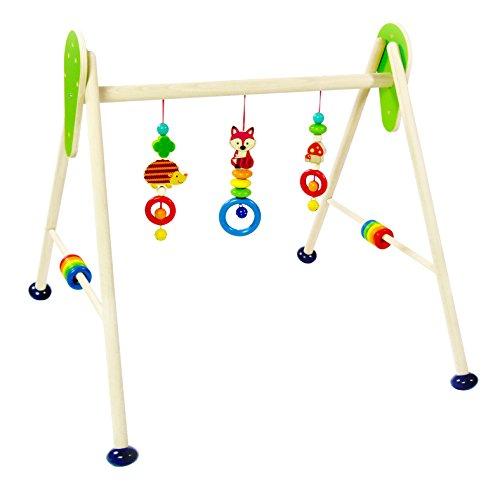 Hess Holzspielzeug 13379 - Spielgerät aus Holz, Serie Waldtiere, für Babys, handgefertigter Spielbogen mit farbenfrohen Figuren...