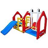 LittleTom Kinder Spielhaus mit Rutsche Schaukel 155x135 cm Kunststoff Spiel-Turm Kletter-Haus für Drinnen Draußen Premium...