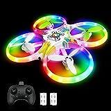 Drohne für Kinder Bunte LED-Lichter Leuchten Quadrocopter mit 5 Intelligente Sensor Dual Akku 18 Minuten RC Drone Helikopter...