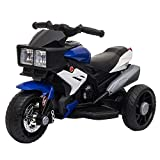 HOMCOM Elektrofahrzeug Kindermotorrad Kinderfahrzeug mit Musik und Beleuchtung Elektro-Dreirad mit Akku 3-6 Jahre Stahl Blau+Weiß...