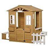 Outsunny Kinderspielhaus mit Fenster Briefkasten Outdoor Gartenspielhaus mit Blumentopfrack Zaun Bank Holzspielhaus Tannenholz...