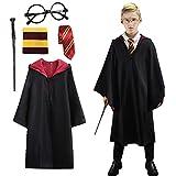 Amycute Zauberer-Kostüm, Zaubererkleid mit Krawatte, schwarze Brille, Schal und Stäbchen, Zubehör-Set für Halloween, Party,...
