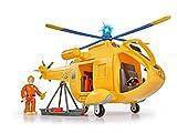 Simba 109251002 - Feuerwehrmann Sam Hubschrauber Wallaby II, mit Tom Thomas Figur, mit Licht und Originalsound, mit drehbarem...