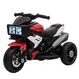 HOMCOM Elektrofahrzeug Kindermotorrad Kinderfahrzeug mit Musik und Beleuchtung Elektro-Dreirad mit Akku 3-6 Jahre Stahl Rot+Weiß...