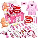 Fivejoy 43 Teile Arztkoffer Kinder, Doktorkoffer Kinder Rollenspiel Spielzeug Mit Rosa Arztkittel Und Puppe, Doktor-Spiel-Set...