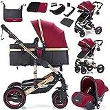 Daliya Bambimo 3in1 Kinderwagen Kombikinderwagen Riesenset 15-Teilig incl. Babywanne, Buggy, Babyschale mit Fußsack, Alu-Rahmen,...