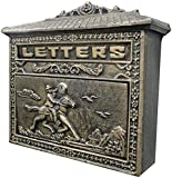 LFERRTYZ Briefkasten Gartendekoration Bronze Wandmontierter Pferdebriefkasten Postfach Sicherheitsbriefkasten