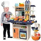 Kinderplay Kinderküche Spielküche Spielzeugküche Küchenset - Licht, Wasser, Dampf, Ton, 65 Küchenzubehör, Die Höhe beträgt...