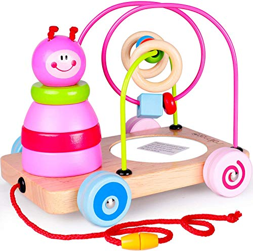 Rolimate Nachziehspielzeug Montessori Spielzeug 4 in1 Holzspielzeug, Stapelturm Spielzeug Sortier & Stapelspielzeug, Auto...