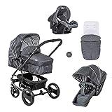 Hauck Kombi Kinderwagen Pacific 4 Shop N Drive / inkl. Babywanne umbaubar zu Sportsitz / inkl. Autositz / inkl. Beindecke / Sitz...