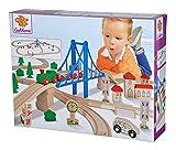 Eichhorn – Schienenbahn mit Brücke – 55-teiliges Holzeisenbahn-Set für Kinder ab 3 Jahren, mit Brücke, Zug, Kirche,...