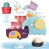 GILOBABY Kinder badespielzeug, Badewannenspielzeug mit Tasse, Bär und Kaktus Spielzeug,Wasserspielzeug Geschenk für Junge...