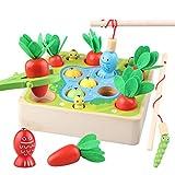 Sunarrive 3-in-1 Angelspiel aus Holz - Fische Angeln Spiel Holzspielzeug - Montessori Motorik Spielzeug - Motorikspielzeug -...