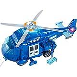 HERSITY Hubschrauber Spielzeug Kinder, Helikopter mit Licht und Sound, Drehpropeller, 1:20 Flugzeug Blau Geschenk für Junge...