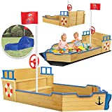KIDIZ® Sandkasten Ahoi - Piratenschiff Boot Segelschiff aus Holz Inkl. Abdeckung, Bodenplane, Sitzbank, Flaggenmast | Große...