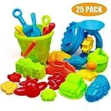 Swonuk 25 Stück Bunt Strand Sandspielzeug Set mit Netzbeutel, Strand Sandspielzeug Kinder -Kinderspielset - Enthält Kipper,...