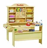 roba Kaufladen, großer Kinder Kaufmannsladen, inkl. Kaufladenzubehör, Holz natur, Verkaufsstand 6 Schubladen, Theke &...