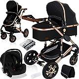 KESSER® Loops 3 in 1 Kinderwagen Kombikinderwagen komplettset incl. Babywanne & Buggy Sportsitz & Auto-Babyschale -...