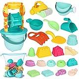 iBaseToy 30 teiliges Strandspielzeug Set Strand Sandspielzeug-Spielset für Kinder Sandkastenspielzeug den Enthält Wasserrad...