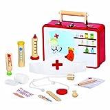 Bino Arztkoffer mit Zubehör, Spielzeug für Kinder ab 3 Jahre, Kinderspielzeug (Arztkoffer Kinder, 13 teilig, Zubehör aus Holz,...
