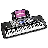 RockJam 54 Tasten Keyboard Klavier mit Netzteil, Notenständer, Klaviernoten-Sticker & Simply Piano Übungen.