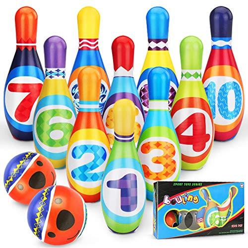 YIMORE Kinder Bowling Set Outdoor Spiele mit 10 Kegel und 2 Bälle Kinderspielzeug ab 3 4 5 Jahre Jungen Mädchen